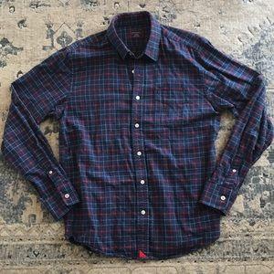 Untuckit flannel button up shirt large plaid blue
